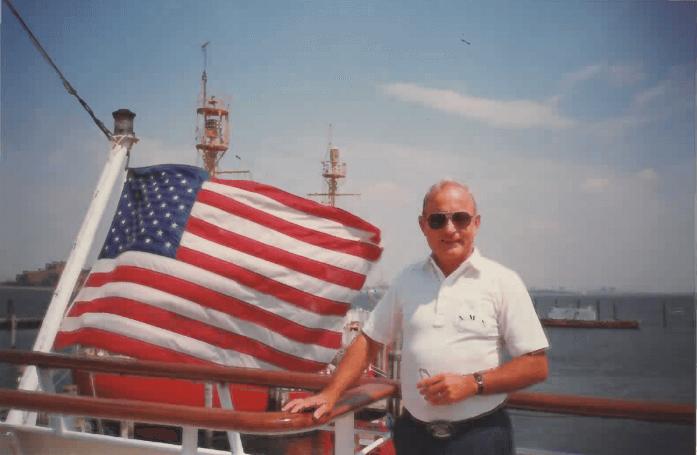 Captain piloting a large boat